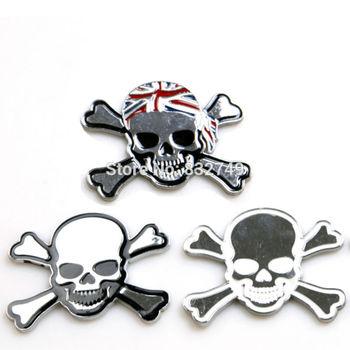 Dropshipping Metal car sticker skull & crossbone flag Auto label metal skull bone Emblem