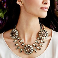 Free Shipping 2013 Hot Rhine stone crystal double chain personality Necklace Fashion JC Necklace Women