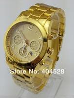 Men's Wristwatch Stainless Steel watches Calendar Shiny Business watch for men date Quartz watch 4colors round dial Drop ship