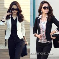 2015 Fashion Suits Women Ladies Feminine  Wear Work Long Sleeve Business Women Jacket Coat Suits Black White Free Shipping 0602