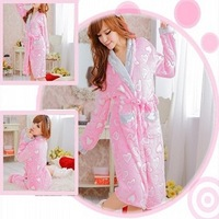 sy023-2 Free shopping 1pcs 3color Sweet love pink coral fleece long sleeve leisure wear pajamas suit women tracksuit