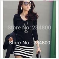 New arrival 2014 Long Sleeve Dresses Women Korean fashion Slim Sexy striped mini OL lady's dress  Free Shipping