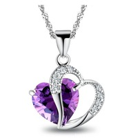 new arrival 925 silver pendant lady's amethyst pendant jewelry wholesale+Heart only you/Valentines gift