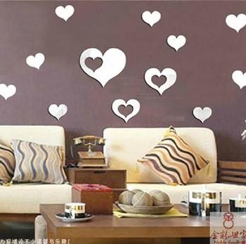 Coeur en coeur acrylique stickers muraux miroir pour salle for Sticker miroir salle de bain