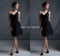 Hot Sales 2013 One Shoulder Pleats Ruched Waistline Black Chiffon Short Bridesmaid Dresses