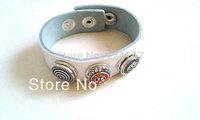 Free Shipping  Fashion genuine leather bracelet with alloy button single circle  white braclet