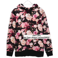 2013 Autumn Famous Tide brand Supreme Power Lies Flower pattern Print Long sleeve Lovers Hoodies Sweatshirts Free shipping