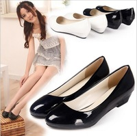 2013 New European and American Round Head Patent Leather Single Shoes Women Candy Wedges OL Boat Shoes