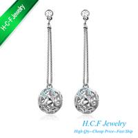 2014 New Fashion 18K GP Fashion Hollow Ball Stud Earrings Best Price - Winter Sonata Crystal Earrings - princess Free shipping