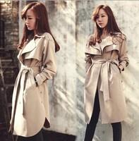 Plus Size S-XXL Free Shipping 2015 Spring Autumn New Korea Fashion Women Cotton Loose Trench Coat Good Quality Casual Outerwear