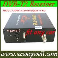 NEW Mobiel car DVB-T2 TV tuner Receiver MPEG-4 External Russia Digital TV tuner Box DVB T2 Support 40km/h H.264 MPEG4 HD 1080P