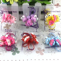 Free shipping 6pairs/lot  Cute kids hair elastics Popular girls hair bows Good hair band Unusual hair accessories Great hair tie