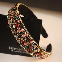 Luxury gemstone hair bands rhinestone headband luxury crystal diamond broad brimmed hair accessory