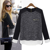 High Quality 2014 New Autumn Women's T-shirts Zipper Long Sleeve Black Tops Plus Size T-shirt Tee Winter Ladies Knitwear WT004
