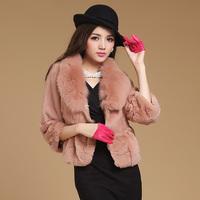 Supernova Sale 2013 women's fur rabbit fur coat fox fur short slim design