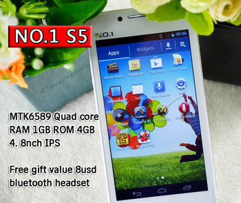 No.1 S5 e MTK6589 13M pixels rear Camera 4.8 inch IPS android 4.2 mobile phone 3G 1G RAM cell cellphone free bluetooth headset