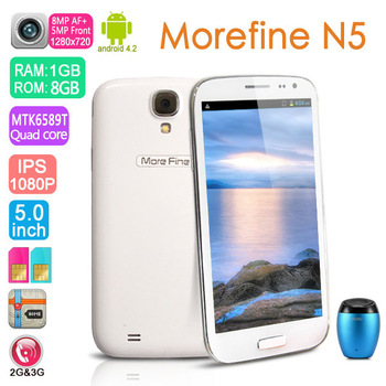 MoreFine N5 5'' Smartphone MTK6589T Quad Core Cellphone Mobile Phone Android 4.2 1GB RAM 8GB IPS Screen 3G GPS White/Amy
