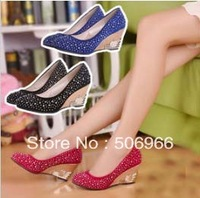 Free shipping Rhinestone spring wedges round toe shoes high-heeled elegant ol work shoes casual shoes