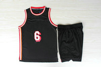 Black# 6 Miami Lebron James The new Basketball uniforms Free shipping
