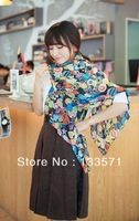 2013 New multi-element Chiffon Scarves, shawls lovely smile  free shipping
