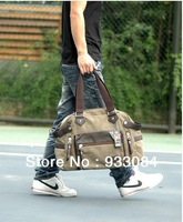 HOT!china air express!russia style weekend bag!men large Thick canvas real leather street fashion Travel Bags!(black,khaki,army)