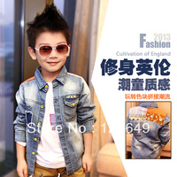 Free shipping 2013 autumn children's clothing patchwork baby child male child denim shirt