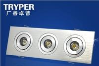 LED Bull's-eye Lights 3*1W LED Downlight Ceiling Lamp Cabinet Light 3pcs lights Rectangular Wafer Full Set 15 cm