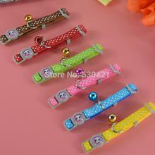 Free Shipping 6 Colors 7-11inch Polka Dot Nylon Pet Cat Collar with Bells(China (Mainland))