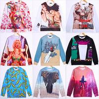 free shipping men/women 3D Sweaters Long sleeve Cotton Galaxy hoodies Pullovers animal  3D sweatshirt S/M/L/XL