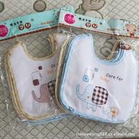 Free Shipping 10pcs/Lot Skin Baby Bibs Elephant Cartoon Pattern Baby Bib Cotton Baby Bib Wholesale CL0304