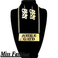 HIP HOP New Gold and Black Acrylic ABLE GOD Necklace and Earrings Jewelry set