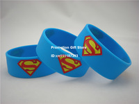"Superman:The Man of Steel Silicon Wristband, Superman Logo Bracelet,  1"" Wide Band, Blue, Adult, 50pcs/Lot, Free Shipping"
