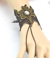 New Vintage Style Bronze Alloy Gothic Black Lace Crystal Flower Bracelet 3pieces/lot