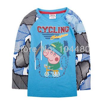 new peppa george pig nova kids boys children t shirts,fashion 2014 spring long sleeve cotton baby t-shirt,retail child tops tees