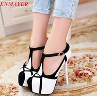 ENMAYER new 2015 arrival black high heels 14cm platform pump shoes women  fashion black party shoes women shoes size 34-39