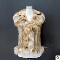 High Quality Women Elegant Real Fox Fur Collar Coat Rabbit Fur Knitted Fur Vest Warm 3 Color 4 Size Free Shipping
