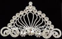 free shipping 9*16cm flowers crown-shape clear crystal rhinestone applique silver bridal wedding hair costume sewing accessory