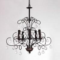 Antique Golden Iron Art K9 Crystal Chandelier Living Room Lamp D500mm H620mm 5 Lights