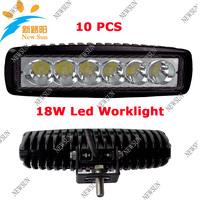"wholesale 10PCS 6"" Slim 18w 6X3W LED Work Light Spot ATV 4X4 Off-Road Light , IP67 Fog driving Bar 4WD trailer truck Epsitar LED"