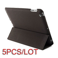 5PCS/LOT 2013 NEW Slim Synthetic Leather Stand Case Smart Cover For iPad 4 4G Gen 3 3rd 2 Coffee 10922