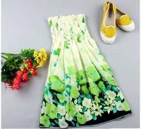10pcs/lot summer sexy rayon pleated strapless print braces chiffon mini casual dress