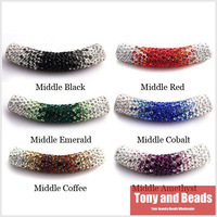 (5Pcs=1Lot ! ) Free Shipping 45MM Clay Disco Pave Long Crystal Shamballa Tube Bending Beads 23 Colors For Bracelet Making ST3