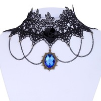 Free Shipping!New Charming Lady's Black Lace Fabric With Blue Crystal Copper pandent Chain Choker Necklace 1035N007400900