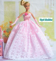 "Free shipping gift for kids 11.5"" doll's pink or white wedding dress for barbie doll"