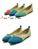 Big Discount!! Free Shipping New Women Girl Casual Comfort Ballet Patchwork Low Heels Flat Loafers Shoes 3 Color