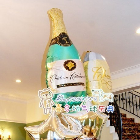Company Anniversary party anagram aluminium foil Wedding gift supplier food balloons 1wine bottle+1cup(China (Mainland))