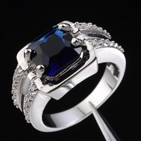 Jenny G Jewelry Men Big Blue Sapphire Solitaire Gem Stone 10KT White Gold Filled Ring Free Shipping Christmas Gift