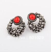 Fashion retro crystal stud earrings free shipping