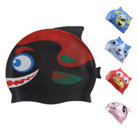 Adult/children Silicone Diving Swimming  Cap  kid cartoon animal faces hat