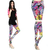 Wholesale 5pcs Sexy Gothic Elastic Tattoo Colorful Vintage Pattern Milk Silk Leggings 043